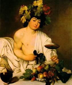 Penggambaran Dewa Bacchus oleh pelukis kenamaan Italia, Caravaggio, menggenggam cawan berisi anggur