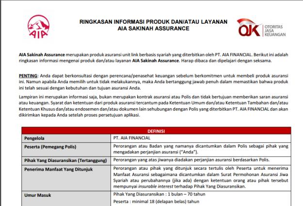 Produk AIA Sakinah Assurance dari AIA Financial: berdasarkan prinsip asuransi syari'ah.