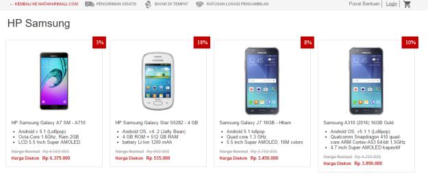 Berbagai pilihan HP Samsung dengan variasi harga dan spesifikasi di MatahariMall.com