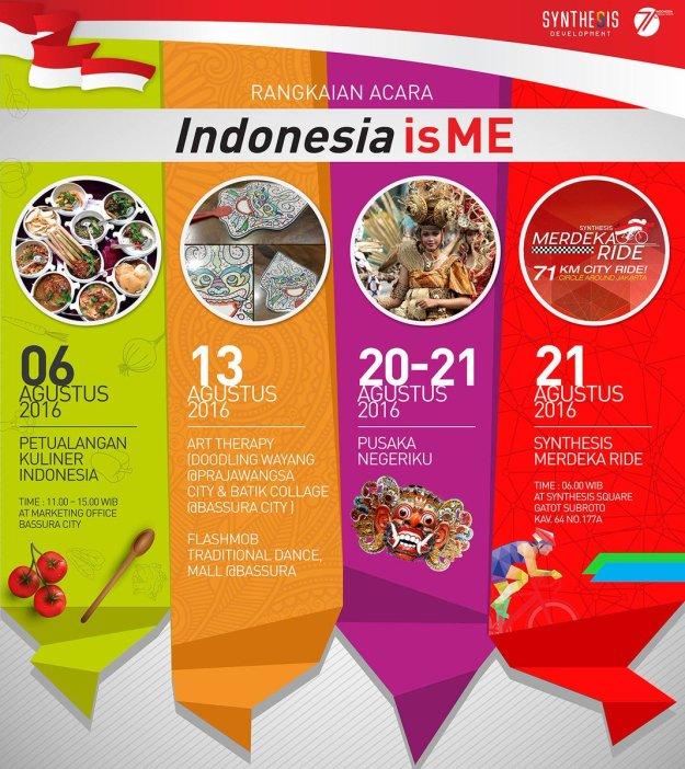 Berbagai Rangkaian Acara Indonesia Is Me 6-21 Agustus 2016 oleh Synthesis Development. (foto sumber: Blogger Perempuan)