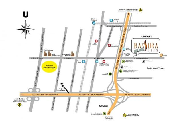 Peta rute menuju ke Bassura City. (foto sumber: bassuracity.id)