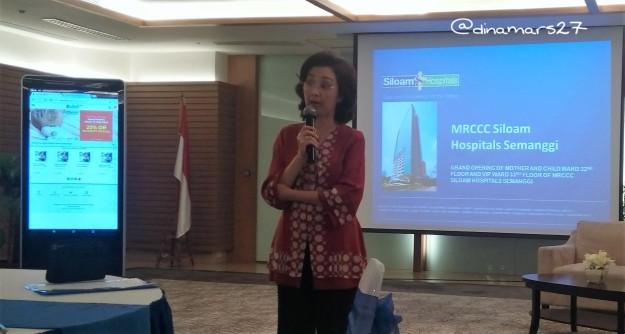 Ibu Melissa Luwia, Direktur MRCCC Siloam Hospital Semanggi memberikan sambutan dalam rangka peluncuran bangsal Mother & Child Ward, 8 September 2016. (foto: dokpri)