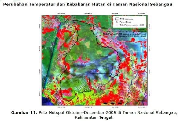 Titik perubahan temperatur akibat kebakaran hutan pada bulan Oktober hingga Desember tahun 2006 di Taman Nasional Sebangau, habitat orangutan di Kalimantan. (foto sumber: makalah Departemen Kehutanan-PHKA November 2007).