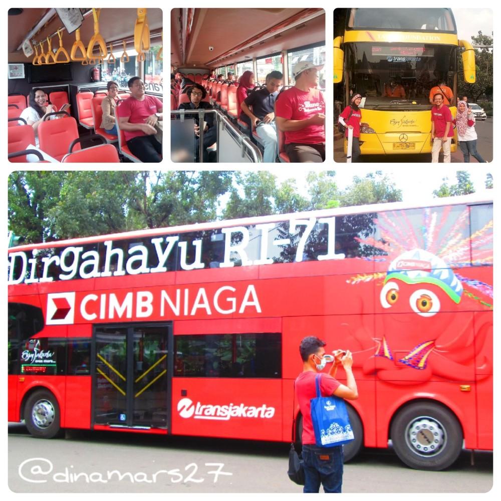 Bus tingkat wisata a la kota Jakarta, dikelola oleh PT Transportasi Jakarta. (foto: dok.pri)
