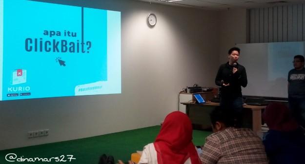 Bapak David Wayne Ika, CEO Kurio sedang memberikan penjelasan mengenai visi dan misi Kurio sebagai aplikasi penyedia informasi berita yang dapat dipercaya dan bukan hoax. (foto: dok.pri)