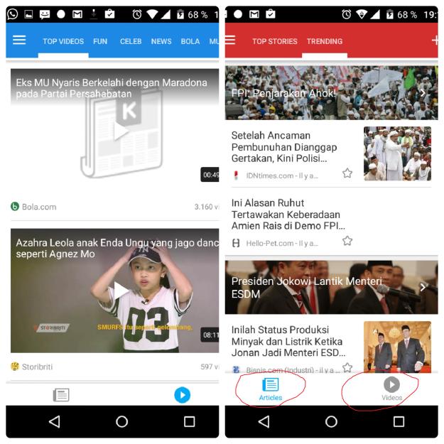 Pengguna Kurio boleh pilih mau akses berita versi tulisan atau video. (foto: dok.pri)