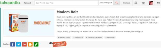 Modem Bolt ternyata juga bisa dibeli di Tokopedia ;). (ilustrasi: Tokopedia.com)