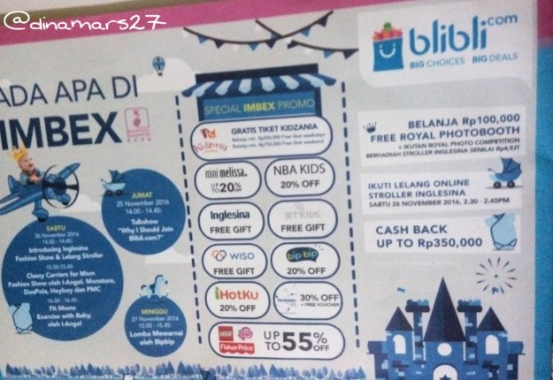 Berbagai promo produk yang ditawarkan serta rangkaian acara yang diselenggarakan Blibli selama IMBEX 2016. (foto: dokpri)