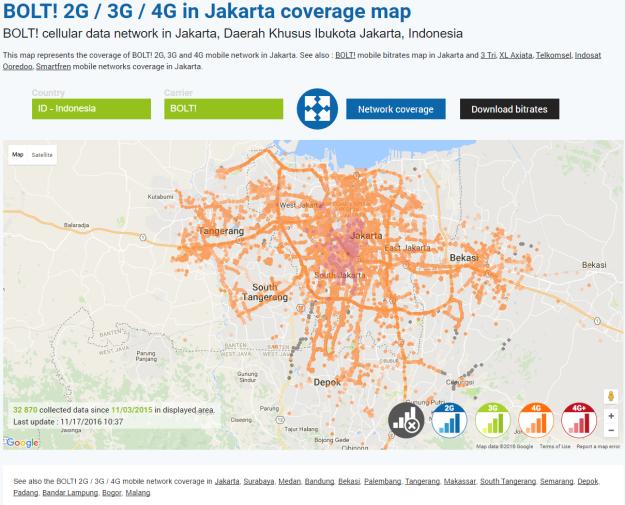 Cakupan jaringan Bolt di wilayah Jadebotabek. (ilustrasi: nperf.com)