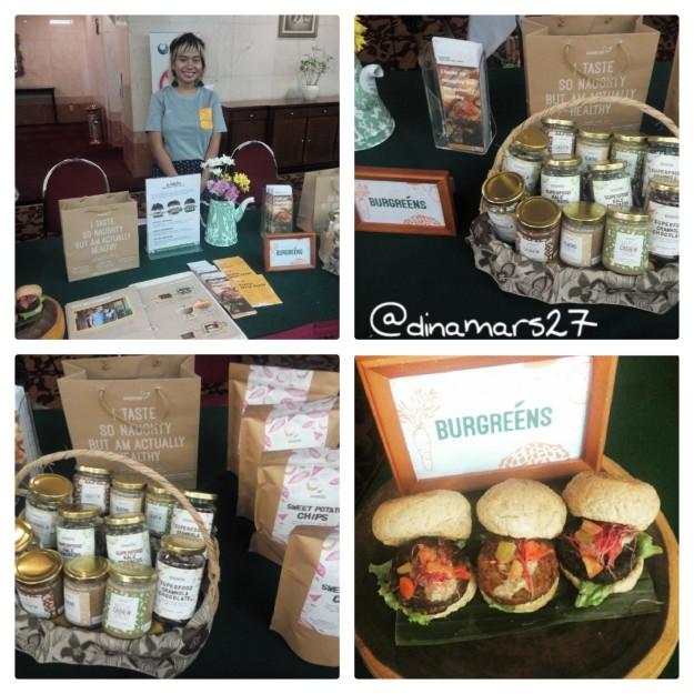 booth Burgreen menghadirkan produk olahan makanan sehat bebas gluten, termasuk veggan burger. (foto: dok.pri)
