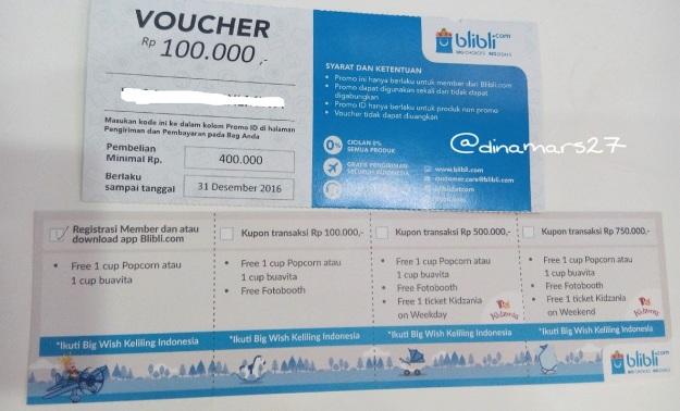 Kupon voucher Blibli Imbex 2016 yang bisa ditukar dengan Pop Corn atau Buavita. Ada juga voucher tiket masuk Kidzania untuk pembelanjaan senilai harga tertentu. (foto: dokpri)