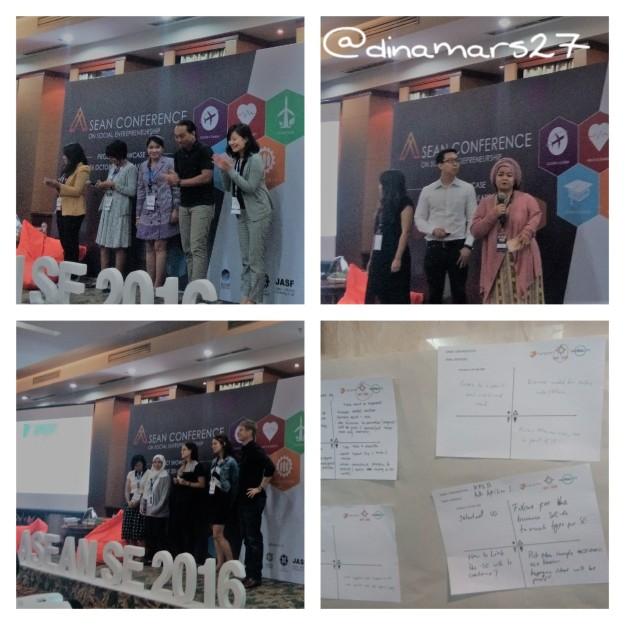 Para finalis ASEAN Social Entrepreneurship 2016 mempresentasikan proyek kewirausahaan sosial mereka yang terbagi ke dalam tiga kelompok dari berbagai negara anggota ASEAN: TripAbility, Agrigator dan MapForGood. Gambar kanan bawah adalah masukan dan saran dari para audiens untuk setiap proyek. (foto: dok.pri)