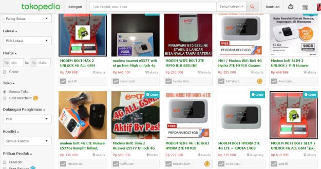 Berbagai pilihan dan jenis modem Bolt yang dijual di laman Tokopedia. (ilustrasi: Tokopedia.com)