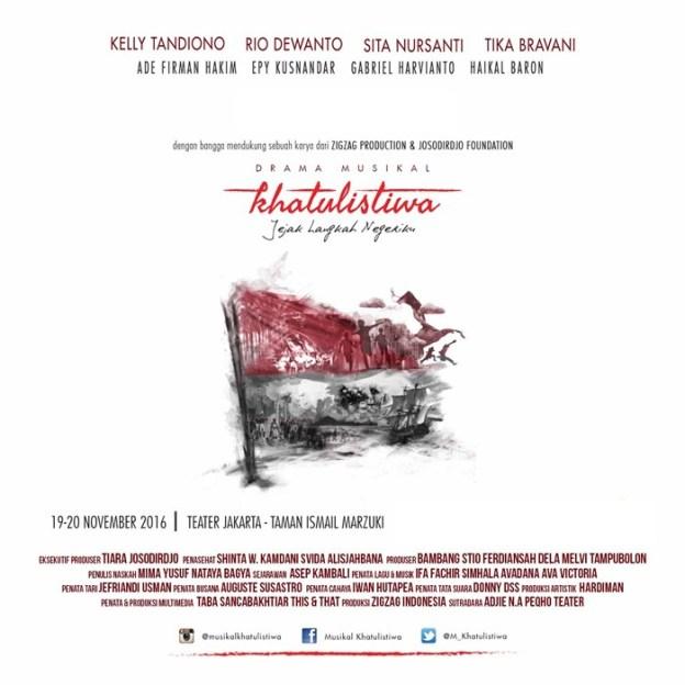 Drama Musikal Khatulistiwa diperankan antara lain oleh Rio Dewanto, Kelly Tandiono, Sita Nursanti dan Teuku Rifnu Wikana. (poster diambil dari website musikalkhatulistiwa.com)