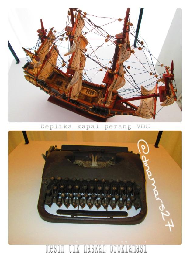 Replika kapal perang VOC dan mesin tik naskah proklamasi juga ditampilkan loh selama berlangsungnya pembukaan acara Drama Musikal Khatulistiwa! (foto: dok.pri)