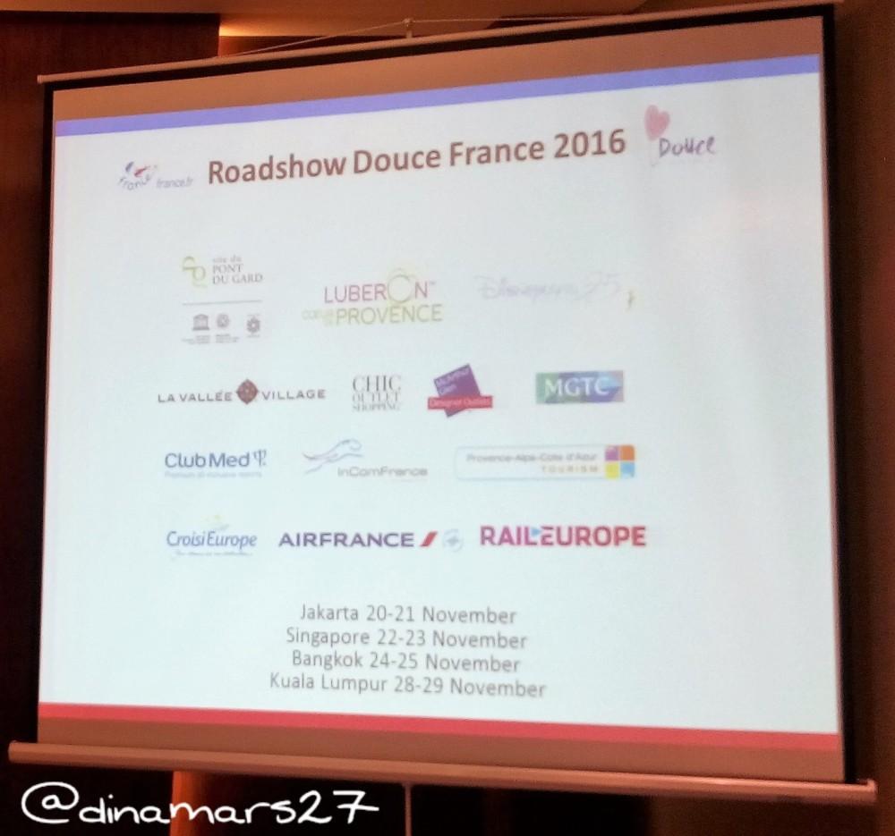 Roadshow Douce France ke beberapa negara ASEAN selama bulan November 2016 dan mitra-mitra yang berpartisipasi. (foto: dokpri)