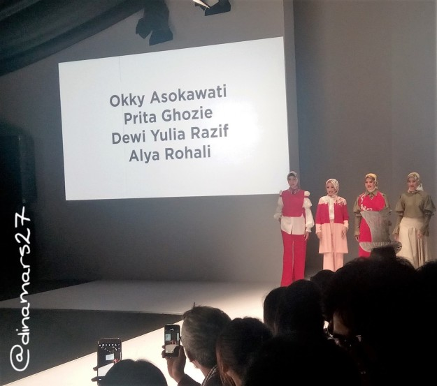 Wanita karier sukses seperti Okky Asokawati, Prita Ghozie, Alya Rohali berbalut busana muslim Potpourri rancangan Poppy Theodorin. (foto: dok.pri)