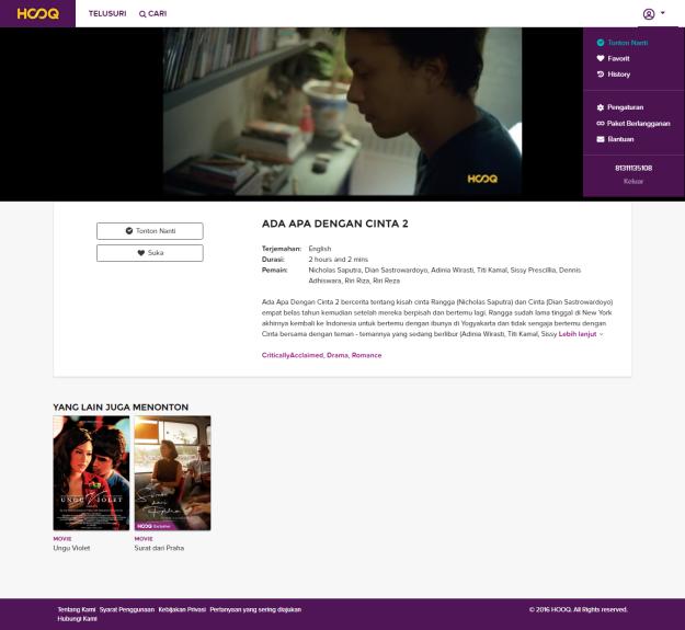 Menonton AADC2 secara streaming melalui laptop, berkat aplikasi HOOQ juga bisa ;). (screen capture foto dokpri)