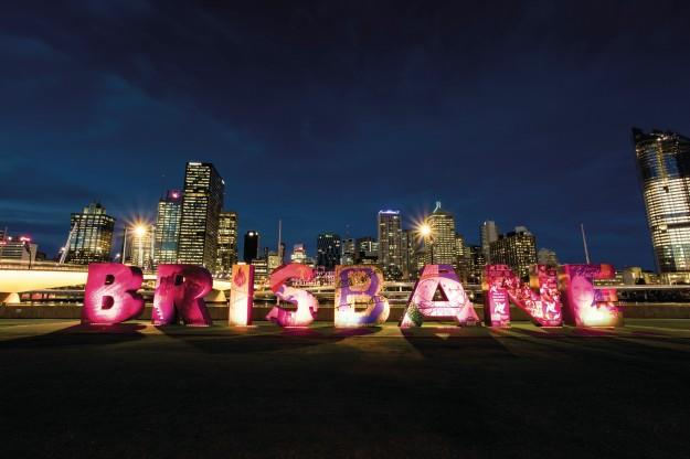 Sudut kota Brisbane dengan ikon tulisan yang instagrammable. (foto: dokumentasi TEQ)