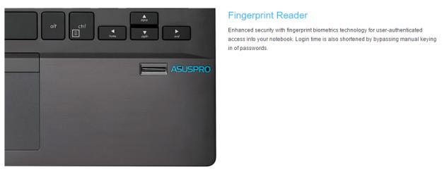 ASUS Pro menggunakan fitur fingerprint, yaitu sidik jari sehingga laptop bisa digunakan oleh pemiliknya saja. (foto sumber: website ASUS)