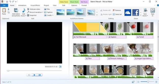 Draft video yang saya kerjakan untuk membuat artikel mengenai produk mie instan dengan menggunakan Windows Movie Maker dari O.S. Windows 10. (foto screenshot: dokpri)