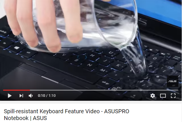 Kecanggihan laptop ASUS Pro, termasuk jenis B2830 ini adalah sifatnya yang nggak rusak walaupun ketumpahan air. (foto sumber: Youtube.com)