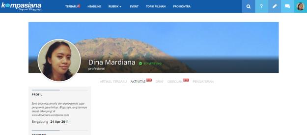 Saya juga anggota komunitas blog Kompasiana sejak tahun 2011. (foto capture: Kompasiana.com)