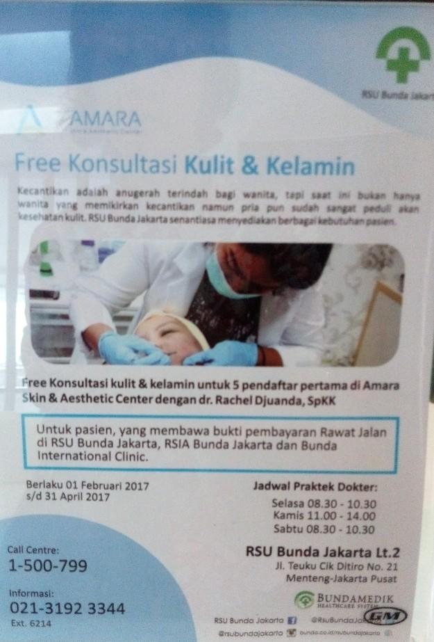 Layanan gratis konsultasi kulit dan kelamin di klinik Amara Skin & Aesthetics Center s.d. tanggal 31 April 2017. (foto: dokpri)