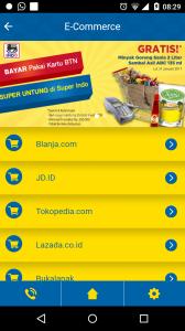 Fitur e-commerce di mobile apps Bank BTN memberikan kemudahan akses ke situs-situs e-commerce di Indonesia tanpa perlu mengunduh aplikasi setiap merchant lagi. (foto: dokpri)